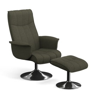 Portfolio Deane Basil Grey Linen Chair and Ottoman