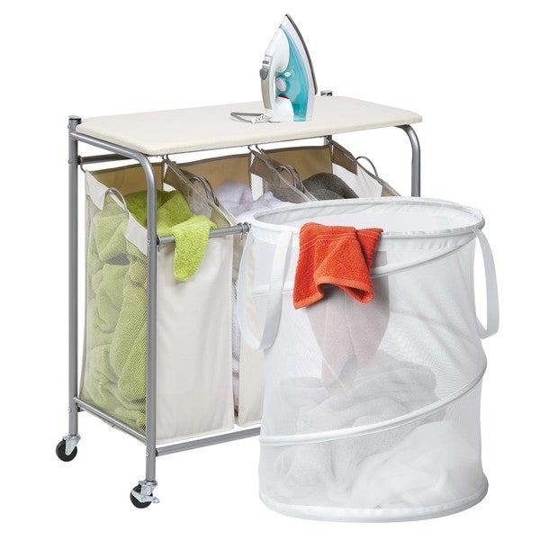 shop honey can do ldyx05947 triple laundry sorter with ironing board and pop up hamper free. Black Bedroom Furniture Sets. Home Design Ideas