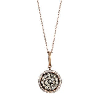 14k Rose Gold 5/8ct TDW Round Brown and White Diamond Pendant