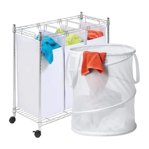 Honey-Can-Do LDYX05941 3 Sorter Laundry Hamper and Mesh Pop-up Hamper