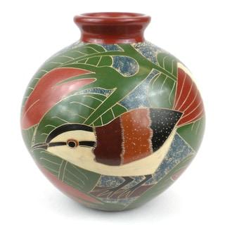 Handmade 6-inch Tall Vase - White Bird Design (Nicaragua)