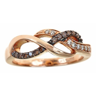 14k Rose Gold 1/4ct TDW Round Brown and White Diamond Ring