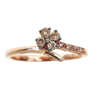 10k Rose Gold 1/4ct TDW Brown and White Diamond Ring