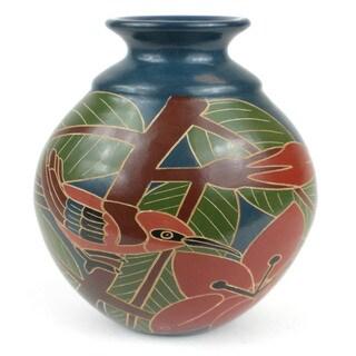 Handmade 8-inch Tall Vase - Red Bird Design (Nicaragua)
