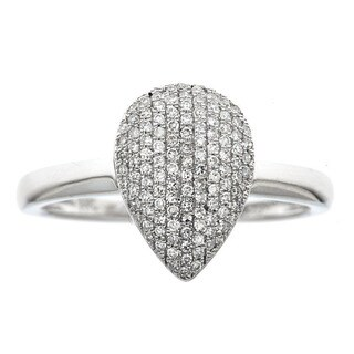 14k White Gold 1/3ct TDW Diamond Teardrop Ring