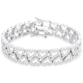 Finesque Diamond Accent Open Heart Design Bracelet