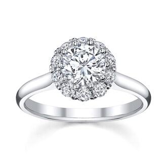 18k White Gold 1 3/8ct TDW Round Halo Diamond Engagement Ring