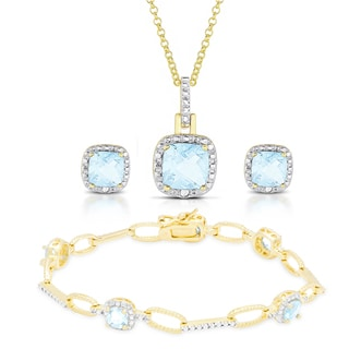 Dolce Giavonna Gold Over Sterling Silver Blue Topaz and Diamond Accent Jewelry Set