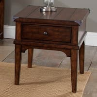Aspen Skies Russet Brown and Metal Accents Square End Table