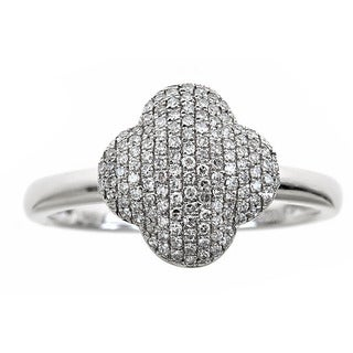14k White Gold 1/3ct TDW Round-cut Diamond Quatrefoil Ring