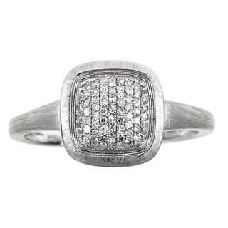 14k White Gold 1/6ct TDW Round-cut Diamond Square Ring