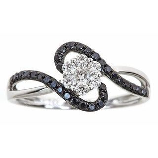 14k White Gold 1/2ct TDW Diamond Round Black and White Diamond Ring