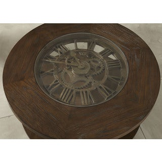 Clockworks Antique Coffee Finish Cocktail Table