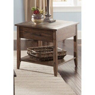 Brookstone Weathered Oak and Wire Brush End Table