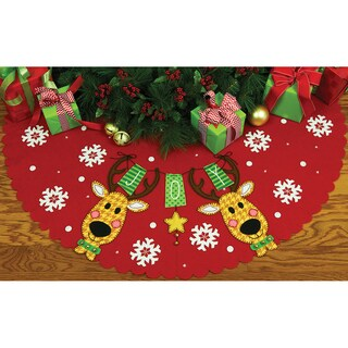 Reindeer Joy Tree Skirt Felt Applique Kit42in Round