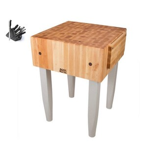 John Boos Useful Grey 18-inch Maple Butcher Block Table with J.A. Henckels 13-piece Knife Set