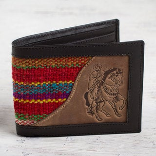 Handmade Men's Wool Leather 'Red Caballero' Wallet (Peru)