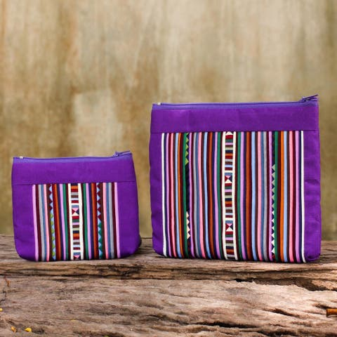 Handmade Set of 2 Cotton Blend 'Exotic Lisu in Purple' Cosmetic Bags (Thailand)