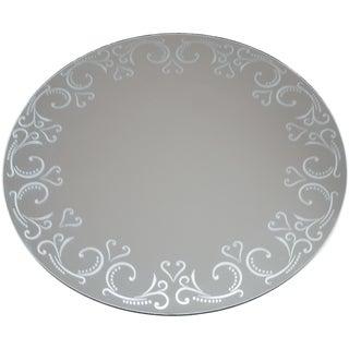 Round Glass Mirror W/Pattern Edge Bulk12in