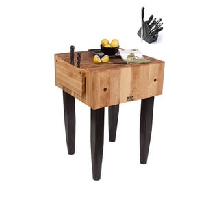 John Boos 24-inch Butcher Block Black Table with Henckels 13 Piece Knife Set