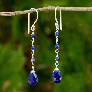Handmade Sterling Silver 'Lady' Lapis Lazuli Earrings (Thailand)