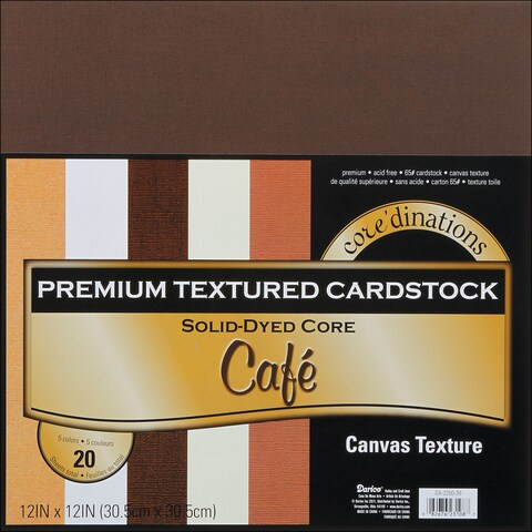 Core'dinations Value Pack Cardstock 12inX12in 20/PkgCafe Textured