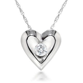10k White Gold 1/5 CT Round Diamond Heart Pendant Necklace