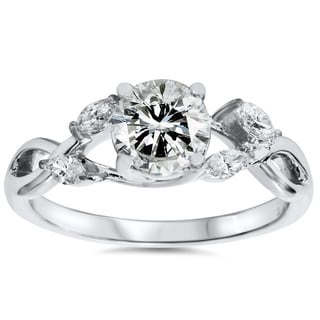 Eco-friendly 14k White Gold 1.32 ct TDW Lab-grown Diamond Vintage Engagement Ring (H-I, VS2-VS3)