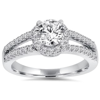14k White Gold 1 ct TDW Lab-Grown Diamond Halo Engagement Ring