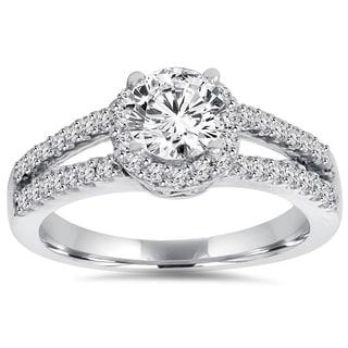 14k White Gold 1 ct TDW Lab-Grown Diamond Halo Engagement Ring (H-I, VVS2)