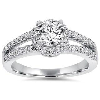 14k White Gold 1 ct TDW Lab-Grown Diamond Halo Engagement Ring
