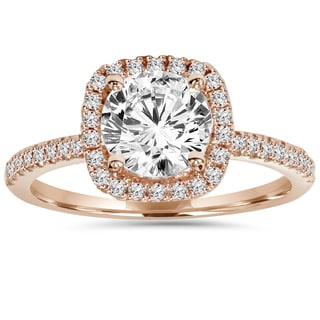 Eco-friendly 14k Rose Gold 1.25 ct TDW Lab-grown Diamond Halo Ring (I-J, VS2-VS3)
