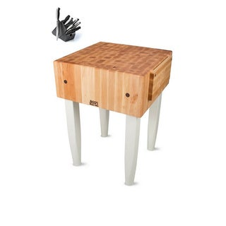 John Boos 24 x 24 Alabaster Butcher Block Table PCA2-C-AL with Casters and J.A. Henckels 13-piece Knife Set