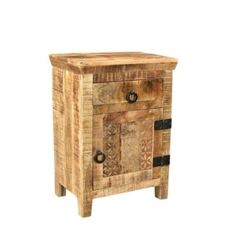 Handmade 1 Door and 1 Drawer Nightstand (India)
