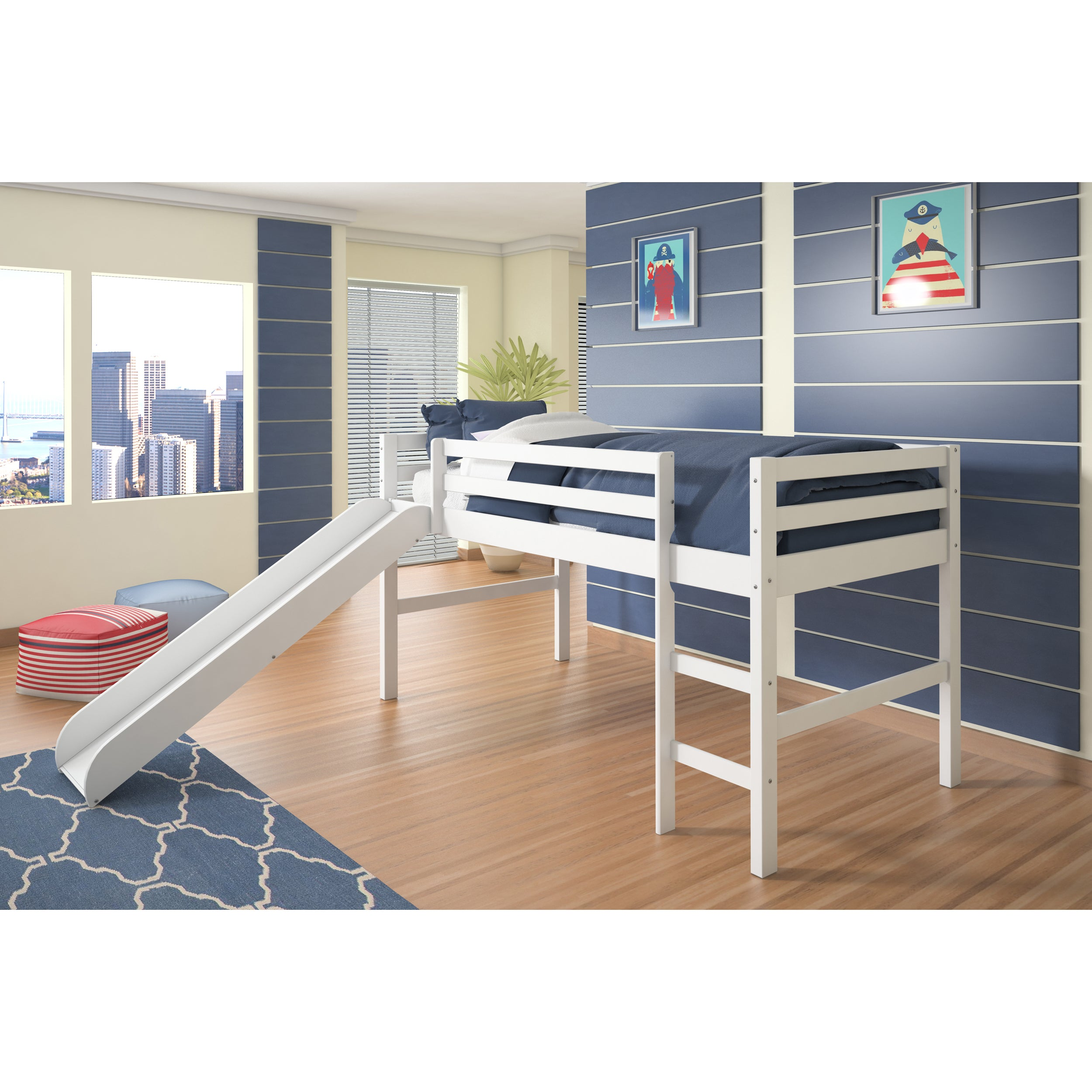 Donco Kids Twin Loft with Slide (White - White Finish)