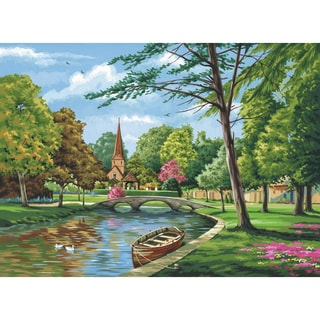 Paint By Number Kit Artist Canvas Series 11inX14inChurch By The River