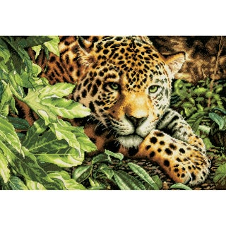 Gold Collection Leopard In Repose Counted Cross Stitch Kit16inX11in 14 Count