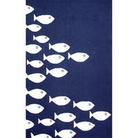 nuLOOM Handmade Modern Fish Indoor/ Outdoor Navy Rug (8' x 10') - 8' x 10'