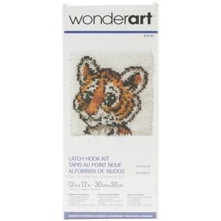 Wonderart Latch Hook Kit 12inX12inTiger Cub