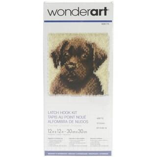 Wonderart Latch Hook Kit 12inX12inChocolate Dog
