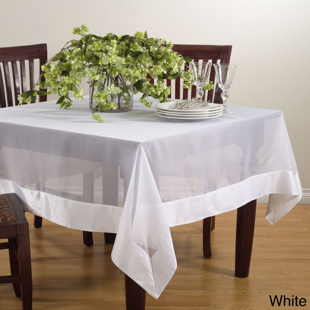 Shop Sheer Tablecloth with Satin Border - Overstock - 10555010