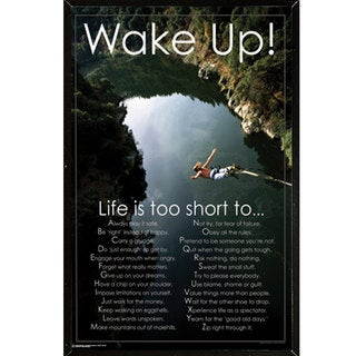 Wake Up Poster (24-inches x 36-inches) on Plaque or Woodmount