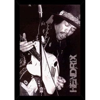 Jimi Hendrix Black and White Poster (24-inches x 36-inches) with Contemporary Poster Frame