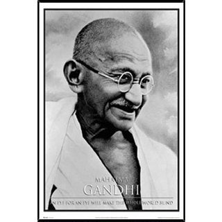 Gandhi Poster (24-inches x 36-inches) on Plaque or Woodmount
