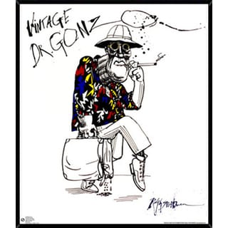 Ralph Steadman Dr. Gonzo Poster (24-inches x 28-inches) on Plaque or Woodmount
