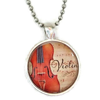 Atkinson Creations Violin Sheet Music Glass Dome Necklace