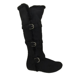 Women's Knee High Black Suede Fur Lined Boots