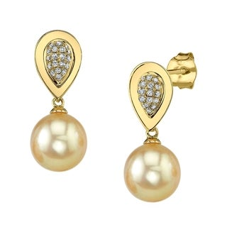 Radiance Pearl 14k Gold Golden South Sea Pearl 1/8ct TDW Diamond Earrings (10-11 mm)