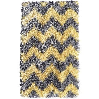 Shaggy Raggy Yellow, Grey Chevy Rug (4.7' x 7.7')
