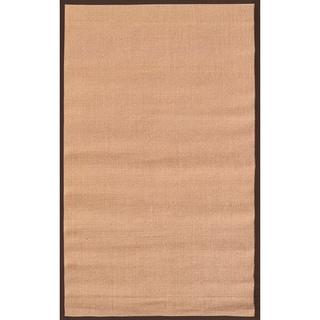 Handmade Sisal Brown Border Tan Sisal Rug (5' x 8')